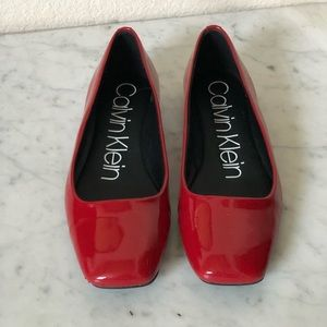 Calvin Klein Red Patent Leather Flats. Size 7.